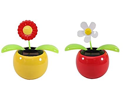 3e2fa7d6355b86 Set of 2 Dancing Flowers ~ 1 Red Sunflower in Yellow Pot + 1 White Daisy in  Red Pot Solar Toy Flowers US Seller Great Holiday Christmas Gift Car  Dashboard ...