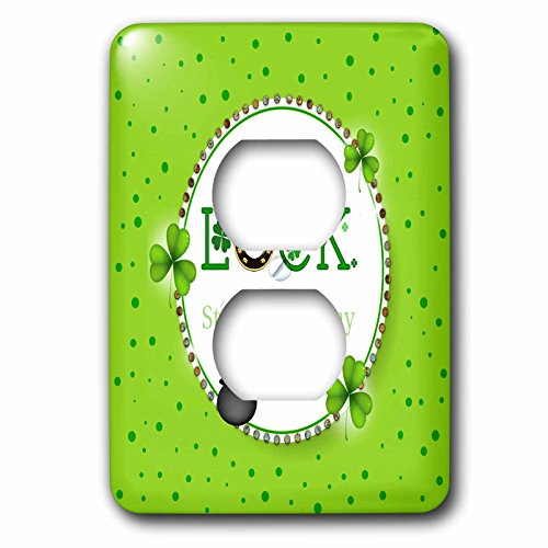 3dRose Beverly Turner St Patrick Day Design - St Patrick Day, Luck, Horseshoe, Shamrock, Pot of Gold, Round Frame - Light Switch Covers - 2 plug outlet cover (lsp_282058_6) (Gold Round Horseshoes)