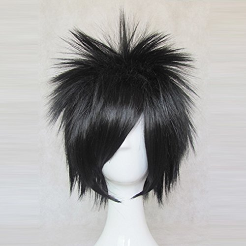 [DEATH NOTE L Black Short Cosplay Costume Wig + Free Wig Cap] (L Costume Death Note)