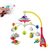 SoonFun Musical Baby Crib Mobile with Star Projector Function and Cartoon Animal Rattles, Remote Control Mobile Music Box with 108 Melodies, Toy for Newborn Sleep-Aircraft