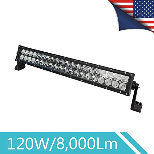 22 Inch LED Light Bar Combo Spot Flood BeamCurved,120W Off Road Led Lights Bar for Trucks Pickup Jeep SUV WireSwitch Attached