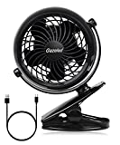 Stroller Fan, Battery Operated Clip on Desk Fan with Free Adjustable Head, Powered by 4 AA batteries(not included), Perfect for Baby Stroller, Home, Office and Outdoor