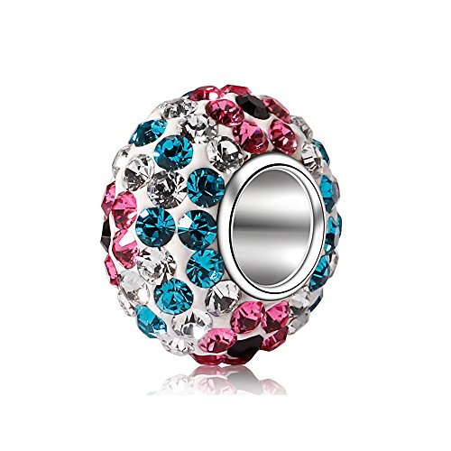 - BEAUTY CHARM 925 Sterling Silver Czech Crystal Glass Ball Charms Beads Solid Core Charm Fit All Bracelets. (Pink Blue)