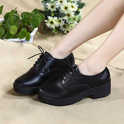 T-JULY Womens Modern Oxfords Shoes - Fashion Perforated Lace-up Mid Heel Comfort Shoes Black hlW1Tqk