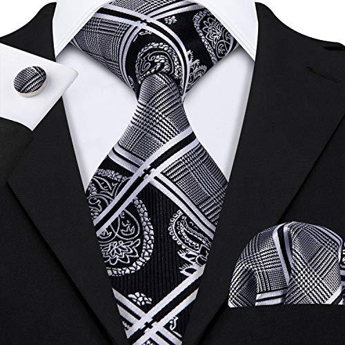 (Barry.Wang Formal Ties Black Grey Neckties for Men Set Paisley Style)