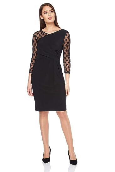 Roman Originals Womens Spot Mesh Wrap Dress - Ladies Evening Cocktail Party  Little Black Dress Bodycon Lace Chiffon Polka Dot - Office Business Elegant  Chic ... 04c1a9a61