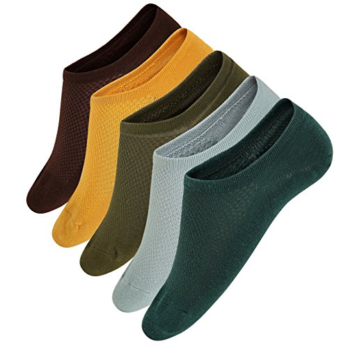 Womens cotton No Show liner Socks Non Slip Flat Boat Line Low Cut casual Socks (5 Colors,5 Pack)