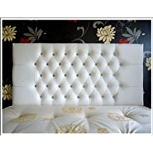 Luxury Designer Faux Leather Crystal Diamante 3Ft/4Ft6/5Ft/6Ft Double Bed Kingsize Standard Size Headboard (White, 5Ft Matching Buttons) by FunkyBuys