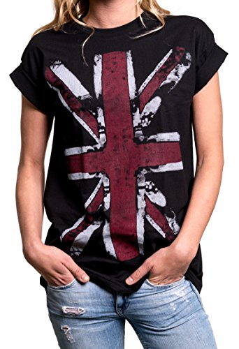 Union Jack T-Shirt - Oversized Womens Top with UK Flag - Black Plus Size US 20-22 = XXL Football Oversized T-shirt