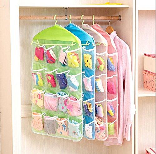 sea-junop 16-Pocket Wardrobe Hanging Shelf Organizer Socks Storage Pocket Bag (Khaki)