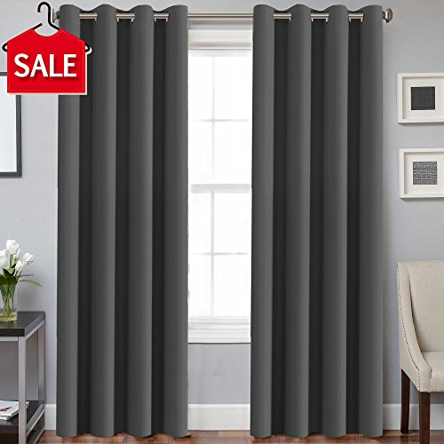 H.VERSAILTEX Three Pass Microfiber Blackout Thermal Insulated Grommet Panel Window Curtains/Drapes (Set of 2 Panels,52 x 96 Inch,Charcoal Gray) (Quality Thermal)