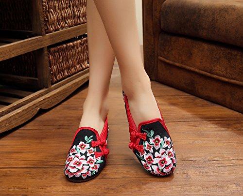 &hua Zapatos bordados, lenguado de tendón, estilo étnico, hembrashoes, moda, cómodos zapatos de lona Black