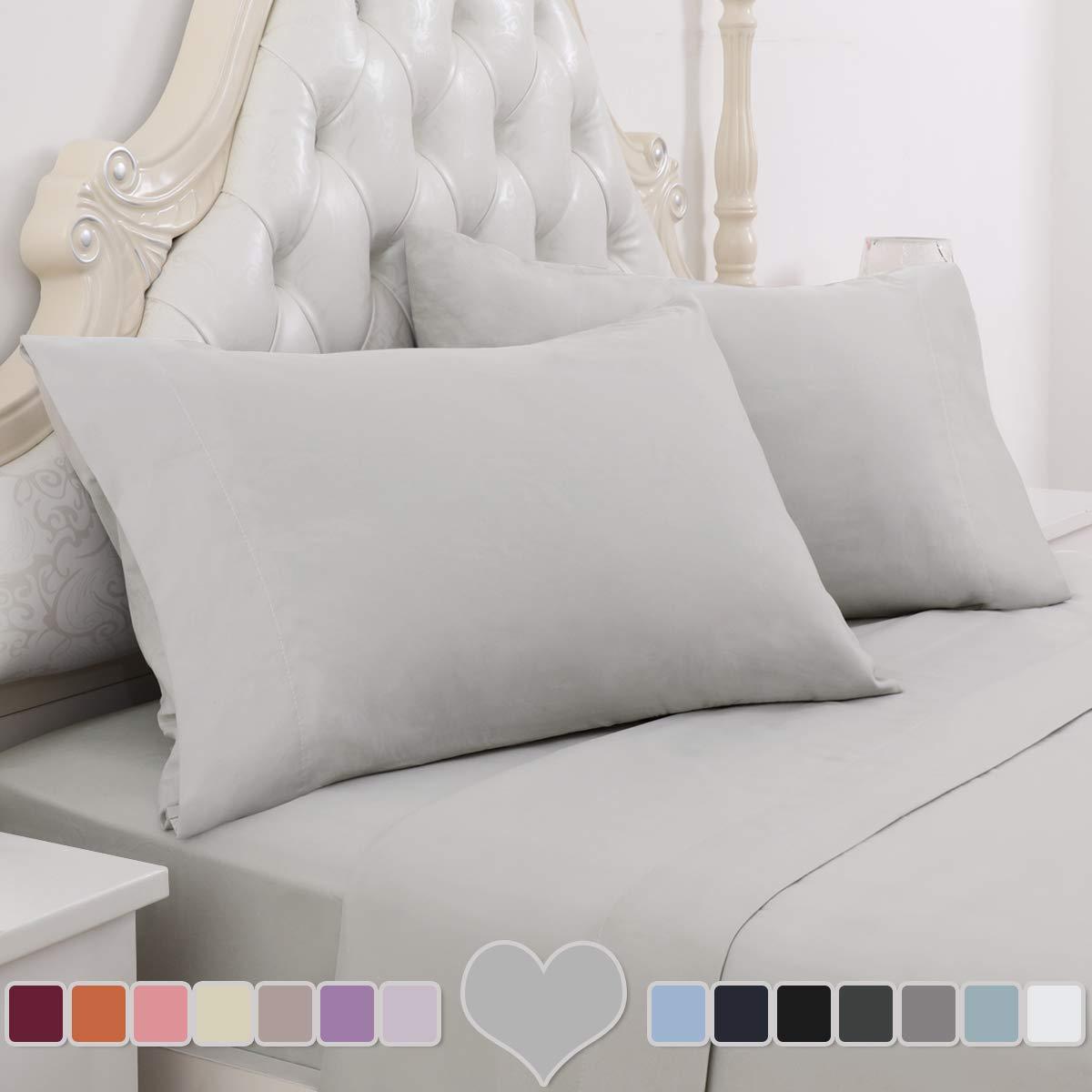 HOMEIDEAS 4 Piece Bed Sheet Set (Queen, Light Gray) 100% Brushed Microfiber 1800 Bedding Sheets - Deep Pockets, Wrinkle & Fade Resistant