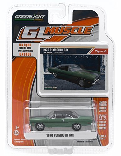 (1970 PLYMOUTH GTX (Ivy Green) * GL Muscle Series 12 * Greenlight Collectibles 1:64 Scale 2015 Die-Cast Vehicle & Trading Card)