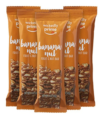 Amazon Bar (Wickedly Prime Fruit & Nut Bar, Banana Nut, Gluten Free, Kosher, 1.4 Ounce (Pack of 5))