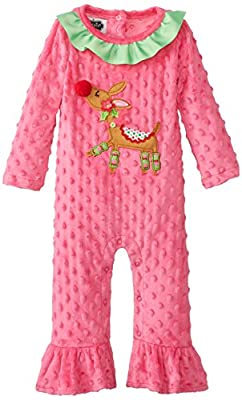 Pink Baby Girl Reindeer Minky Christmas Jumper from Mud Pie