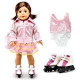 Oct17 Fits Compatible with American Girl 18' Skating Outfit18 Inch Doll Clothes Accessories Costume Set Pink Bodysuit Bag Coat Skate Shoes