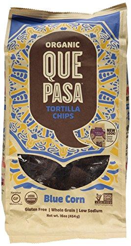 Que Pasa Organic Tortilla Chips, Blue, 16 Ounce
