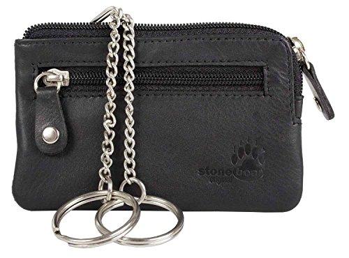 Schlüsseletui Schlüsseltasche Schlüsselmäppchen Leder schwarz stonebear original