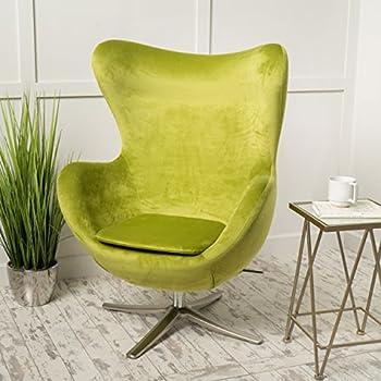 Glendon Arne Jacobsen Style New Velvet Swivel Contour Egg Chair