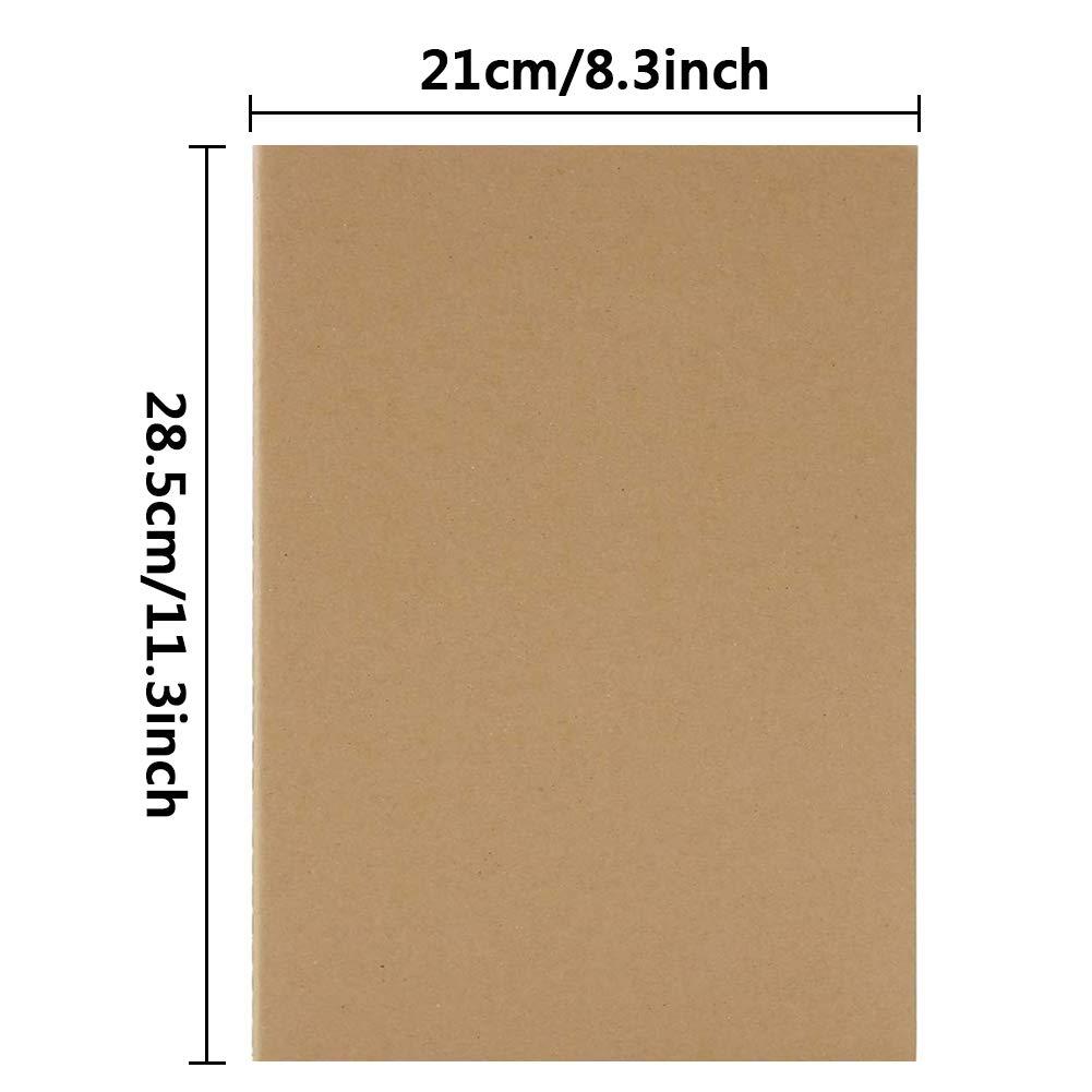 64 p/áginas//32 hojas planificador de notas perfecto para viajes y escuela hojas blancas cuaderno de dibujo hojas blancas Paquete de 3 cuadernos A4 de papel kraft sin forro