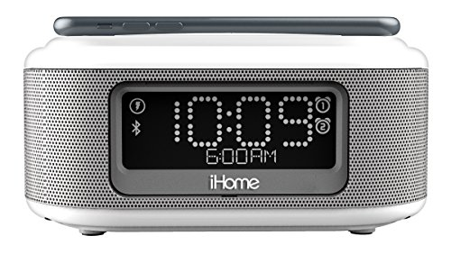 iHome iBTW23 Alarm Clock Bluetooth Stereo Lightning iPhone Qi Wireless Charging Dock Station iPhone Xs, XS Max, XR, X, iPhone 8/7/6 Plus USB Port Charge USB Device