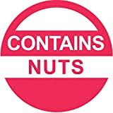 "Contains Nuts Labels Red Food Advisory Labels White Imprint - 1"" Dia 1000 Per Roll"