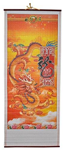 Rattan Wall Scroll - Fire Dragon (Manau Rattan Cane)