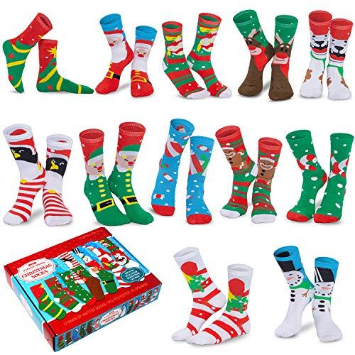 JOYIN 12 Pairs Warm Fuzzy Christmas Socks Set for Christmas, Holiday or Birthday Gift
