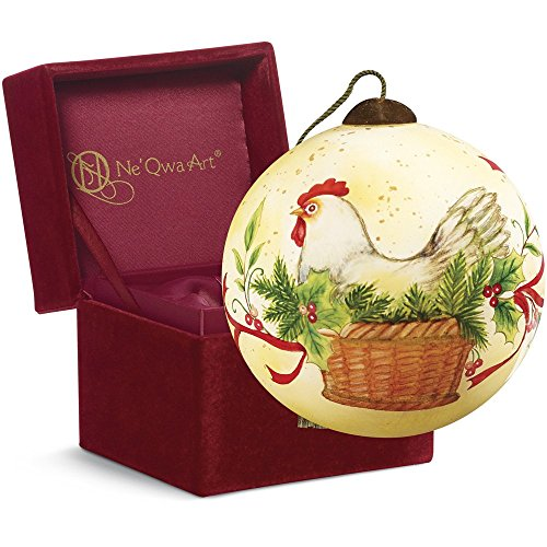 "Ne'Qwa Art, Twelve Days of Christmas, Christmas Gifts, ""Three French Hens"" Artist Susan Winget, Petite Round-Shaped Glass Ornament, #7161142"