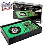 Matty's Toy Stop Deluxe Table Top Roulette Wheel with 50 Chips, Rake, Spinning Wheel & Double Zero Style Felt Covered Wood Table