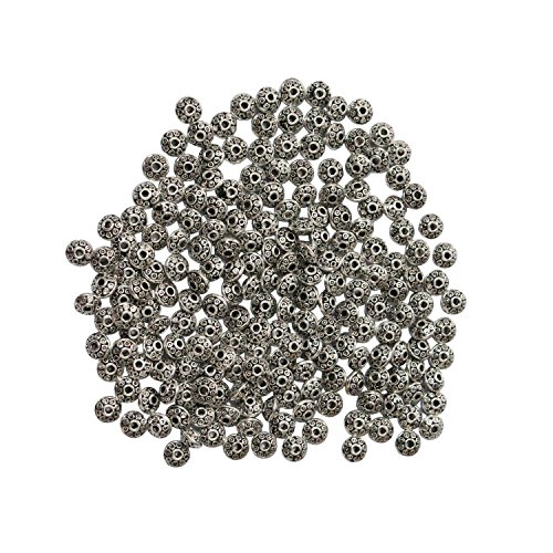 LJY 200 Pieces 6 mm Antique Spacer Beads European Style Beads for Jewelry Making (Silver)