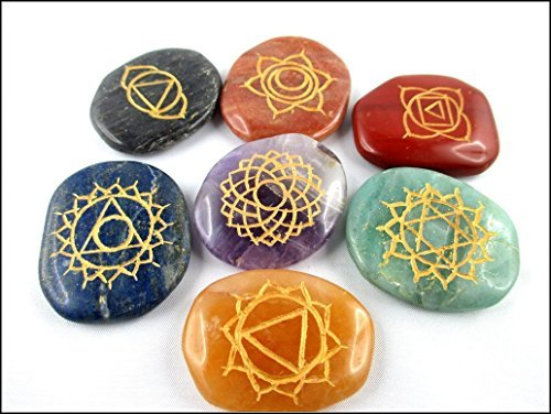 Jet Lucky Flat Tumbled 7 (Seven) Reiki Palm Stone Chakra Jet International Healing Crystals Engraved Carved Holistic ()