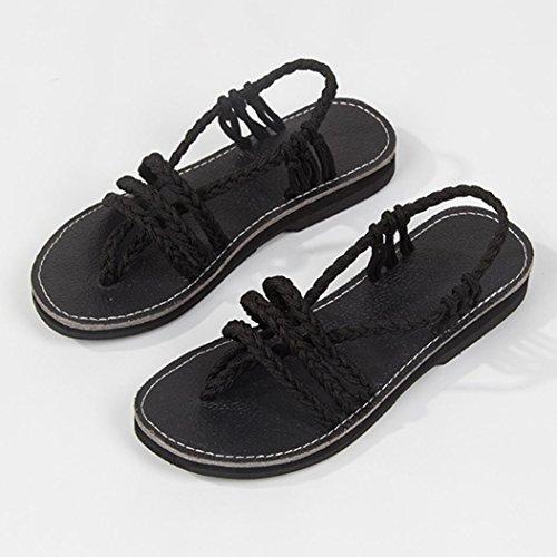 Chaussures Femme Croix Mode Sandale Romaine Sandales Été Rome Pincée Plat de Plage Noir de Pantoufles Mode Chaussures Bohème JIANGfu d'été Pantoufles twqFgq