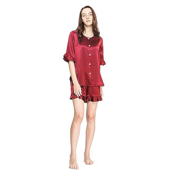d1b01745f0 LILYSILK Ladies Ruffle Trim 22MM Casual Silk Pajamas Set Women Short Pajamas  Pure Mulberry Silk Claret