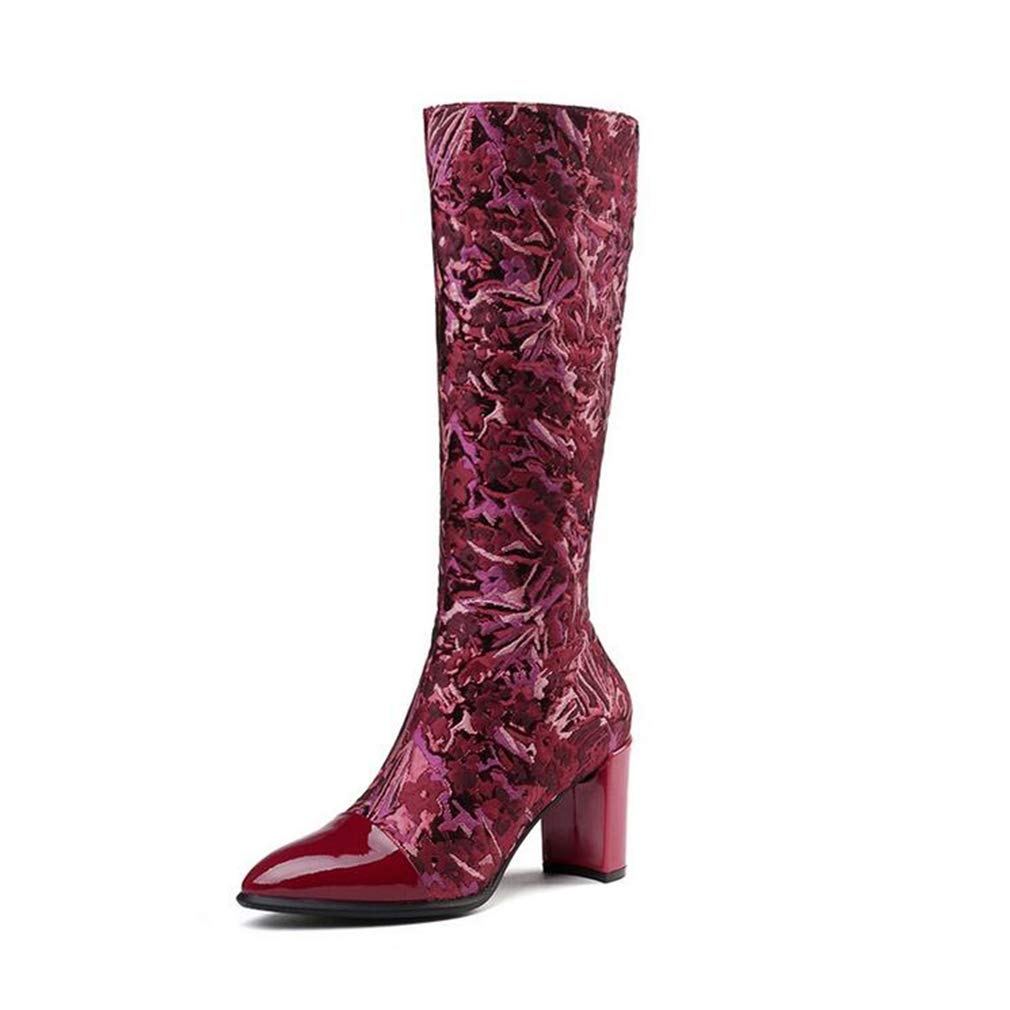 HY Stivali da Donna, Stivali da Caviglia con Tacco Spesso Spesso Spesso Comfort in Pelle Autunno Inverno, Stivali da Donna, Scarpe Eleganti, Scarpe Natalizie (colore   Vino Rosso, Dimensione   41) 342d30