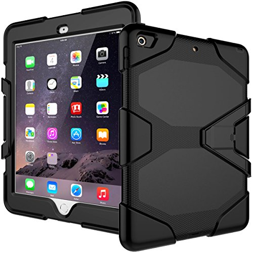 iPad 9.7 Case 2018/iPad 9.7 2017 Case,Heavy Duty Shockproof Hybrid Screen Protector Rugged Rubber Protective Stand Case for Apple iPad 9.7 2018 6th Gen/2017 5th Gen Black