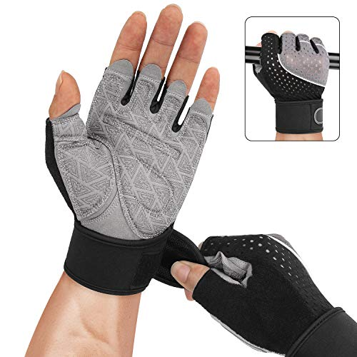 Joyoldelf Weight Lifting Gloves, Breathable & Built-in Wrist Wraps and Strong Grip Padded Workout Gym Gloves for Weightlifting, Cross Training, Fitness, Cycling, Rowing, Yoga, Bodybuilding