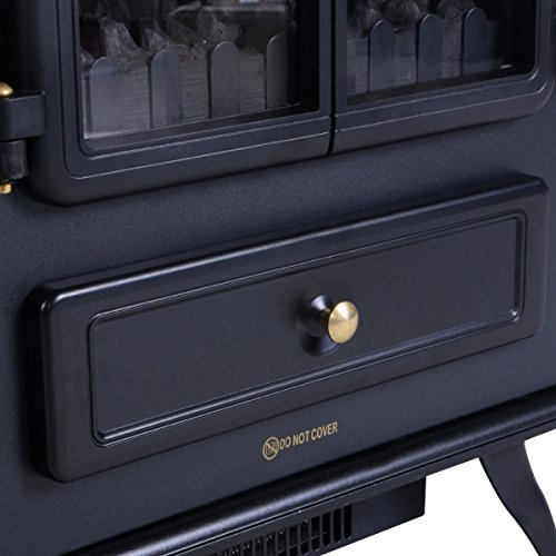 Giantex Free Standing Electric 1500W Fireplace Heater Fire Flame Stove Wood Adjustable by Giantex (Image #4)