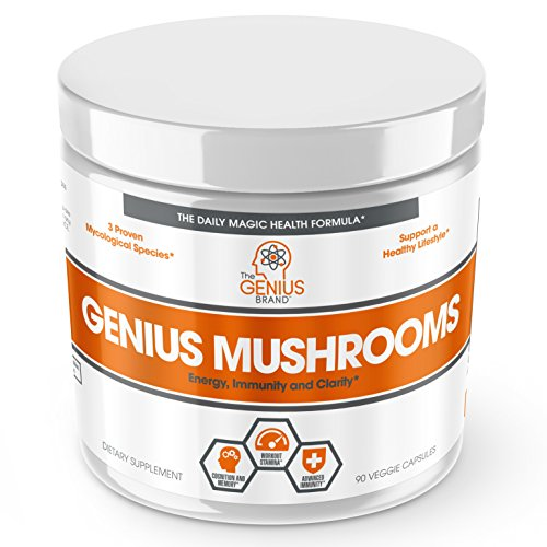 Genius Mushroom – Lions Mane, Cordyceps and Reishi – Immune System Booster & Nootropic Brain Supplement – Wellness Formula for Natural Energy, Stress Relief, Memory & Liver Support, 90 Veggie (Herbal Supplements Immune System)