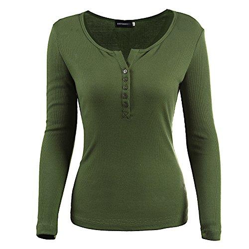 Jinshida Women's Ribbed Long Sleeve Henley T-Shirt Army Green M