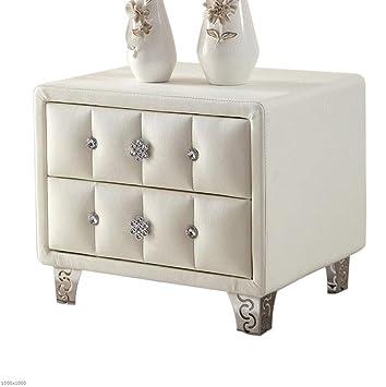 Amazon.de: TX ZHAORUI Moderne Weiße Leder-Nachttisch Schlafzimmer ...