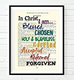 In Christ I am Blessed Chosen Holy Blameless - Ephesians 1 Christian ART PRINT, UNFRAMED, Vintage Bible verse scripture wall decor poster, Inspirational gift, 8x10 inches
