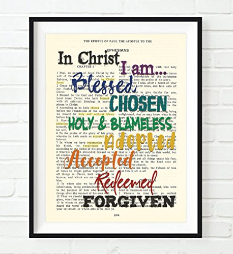 - In Christ I am Blessed Chosen Holy Blameless - Ephesians 1 Christian ART PRINT, UNFRAMED, Vintage Bible verse scripture wall decor poster, Inspirational gift, 8x10 inches