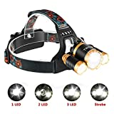 LED Headlamp Flashlight, 4 Modes Super Bright Headlamp Waterproof Rechargeable Headlight for Reading Outdoor Running Camping Fishing Walking - (Small)
