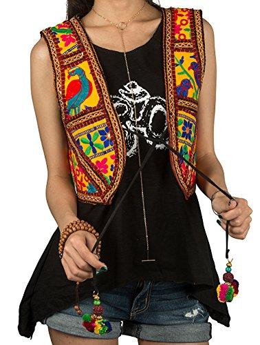 Tribe Azure Women Fashion Vest Handmade Embroidered Boho Hippie Sleeveless Open Front Short Summer Beach
