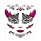SUJING Halloween Skull Temporary Tattoos Makeup Tattoo Stickers Halloween Terror Tattoo Kit (B)