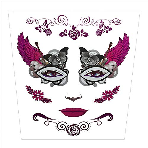 SUJING Halloween Skull Temporary Tattoos Makeup Tattoo Stickers Halloween Terror Tattoo Kit (B)]()