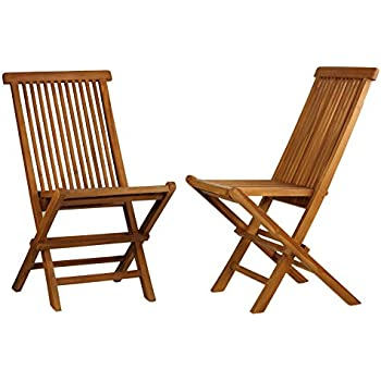 Bare Decor Vega Golden Teak Wood Outdoor Folding Chair (Set Of 2) (2