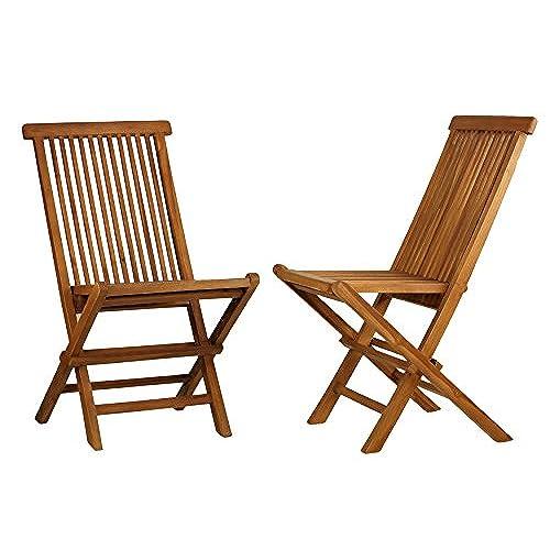 Bare Decor Vega Golden Teak Wood Outdoor Folding Chair (Set Of 2) (2 Chairs)